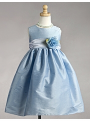 Blue Polyester Dupioni Dress w/Organza Sash
