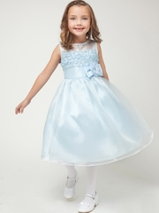 Blue Ruffled Organza Dress w/Satin Trim Bodice