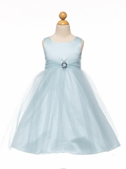 Blue Satin & Tulle Dress w/ Rhinestone Brooch