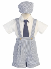 Blue Seersucker Suspender Shorts & Hat