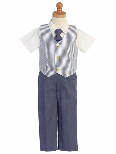 Blue Seersucker Vest & Pants Set