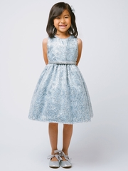 Blue & Silver Metallic Chord Embroidered Dress w/ Belt