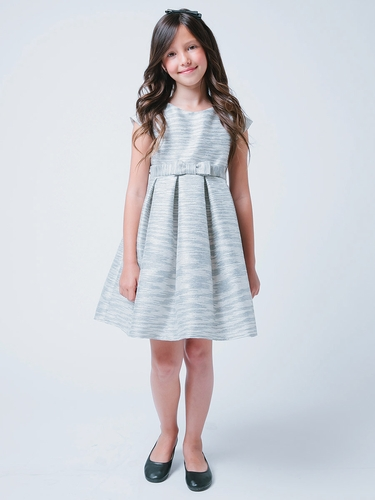 Blue & Silver Striped Metallic Jacquard Dress