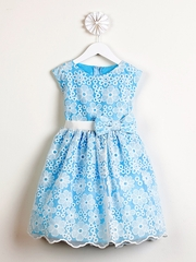 FLASH SALE: Blue Spring Embroidered Organza Dress