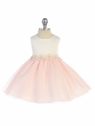 Blush 2 Tone Dress w/ Flower Trim