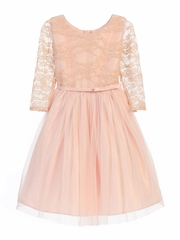 Blush 3/4 Lace Sleeve Ballerina Dress