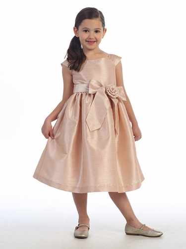 Blush Aurora Sash Dupioni Dress