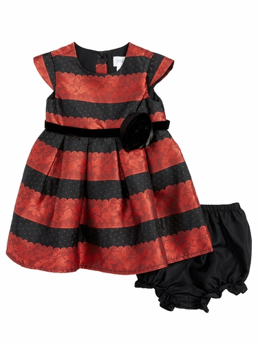 Blush by Us Angels Infant Ruby Lace Stripe Brocade Dress