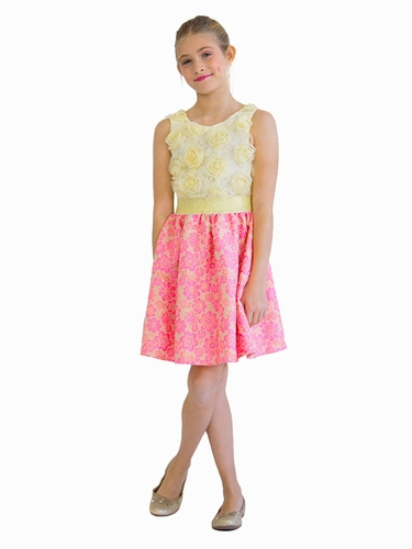 Blush By Us Angels Neon Pink Floral Lace Jacquard Dress