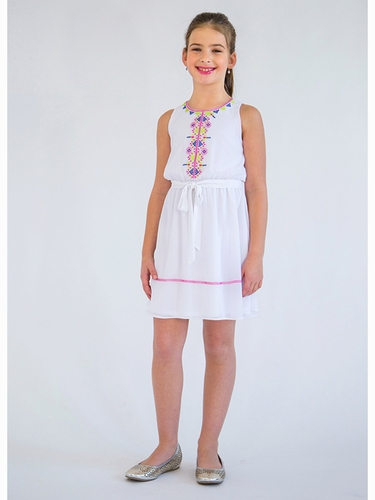 Blush By Us Angels Sleeveless Georgette Dress w/ Embroidery