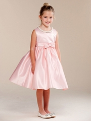 Blush Pearl Neckline Flower Girl Dress w/ Bow