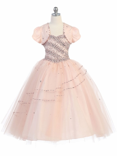 Blush Pink Beaded Ball Gown w/ Bolero