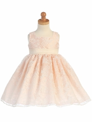 Blush Pink/Ivory Spring Burnout Organza Dress