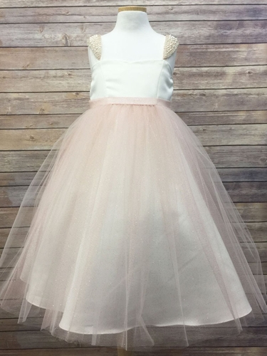 Blush Satin & Glitter Mesh Dress w/ Peal Shoulder Cap Sleeve