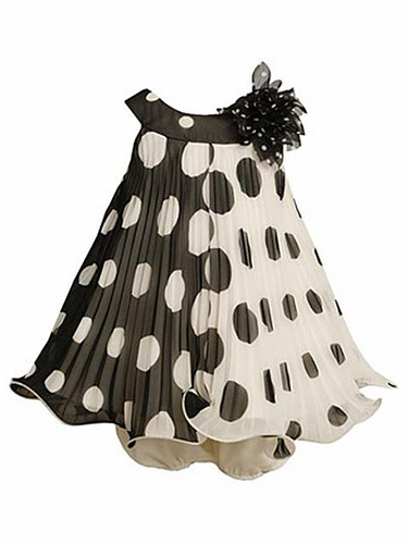 Bonnie Jean Black & White Color Block Dot Dress Set