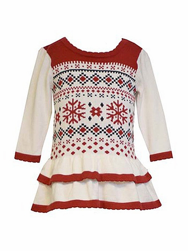 Bonnie Jean Fairisle Intarsia Sweater Dress