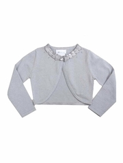 Bonnie Jean Fly-A-Way Silver Sweater w/ Ruched Ribbon & Pearls