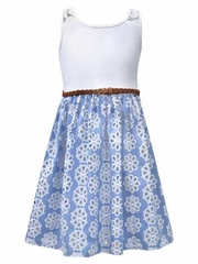 Bonnie Jean Knit Bodice w/ Printed Chambray Skirt & Belt