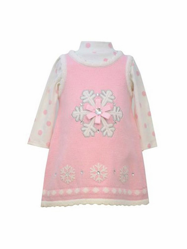 Bonnie Jean Pink Snowflake Sweater Dress