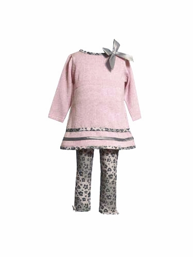 Bonnie Jean Pink Sweater Knit Dress w/ Floral Trim & Leggings
