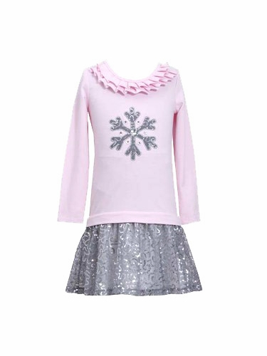 Bonnie Jean Sequined Snowflake Skirt Set