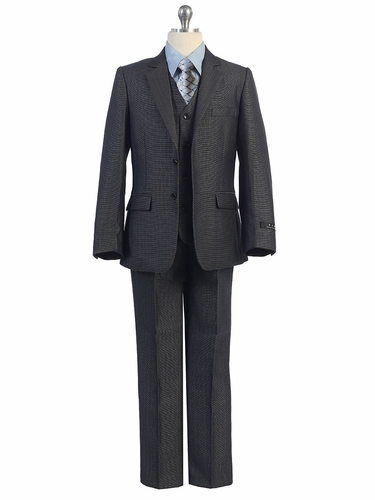 Boys 5 PC Slate Blue Suit w/ Texture