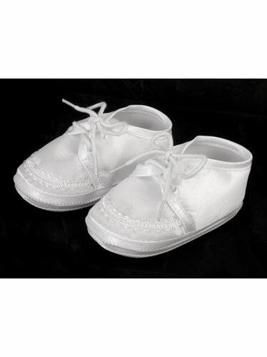 Boys Baptism Christening Satin Booties w/ Embroidery