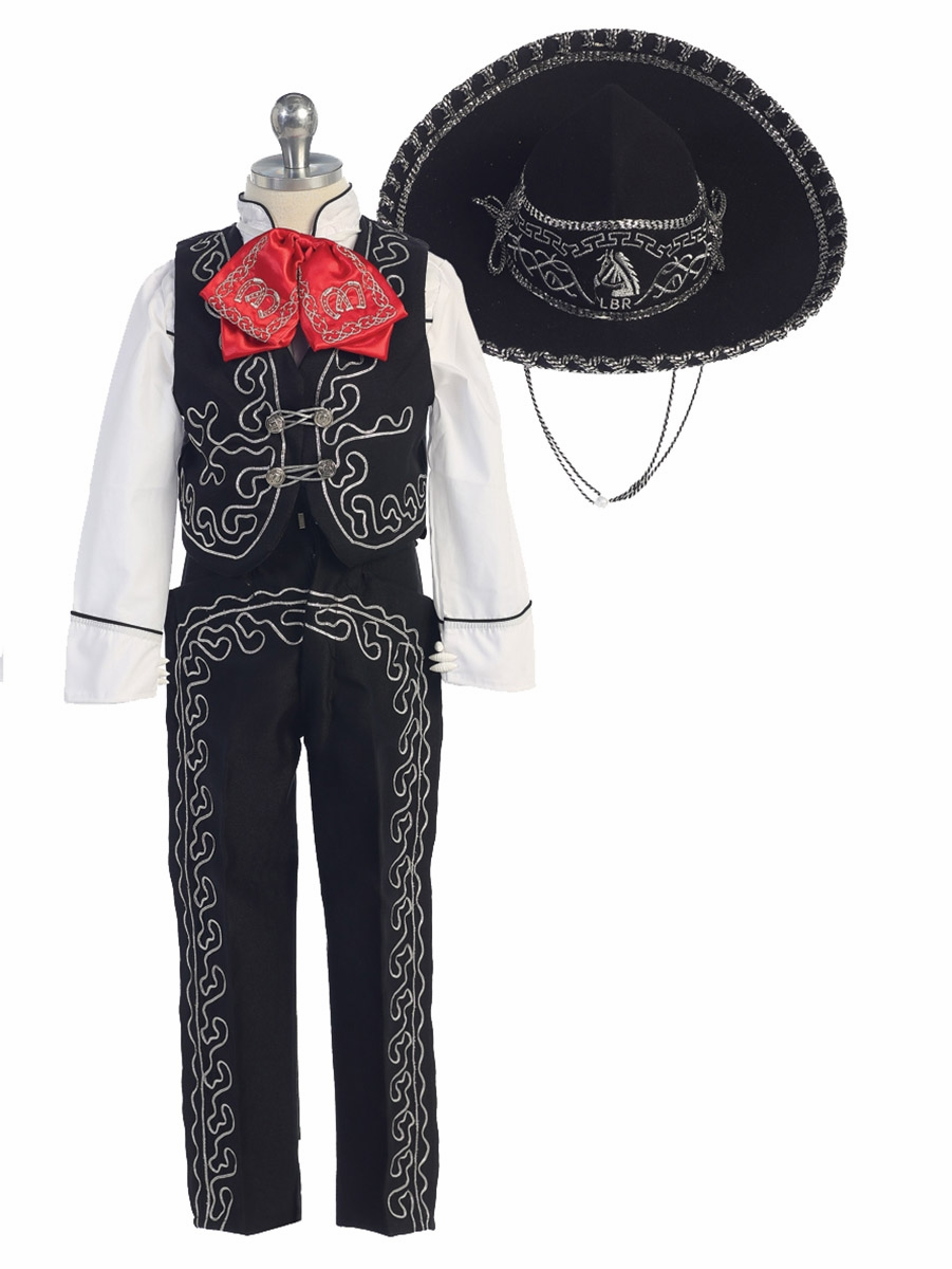 Boys White Charro Suit W Hat