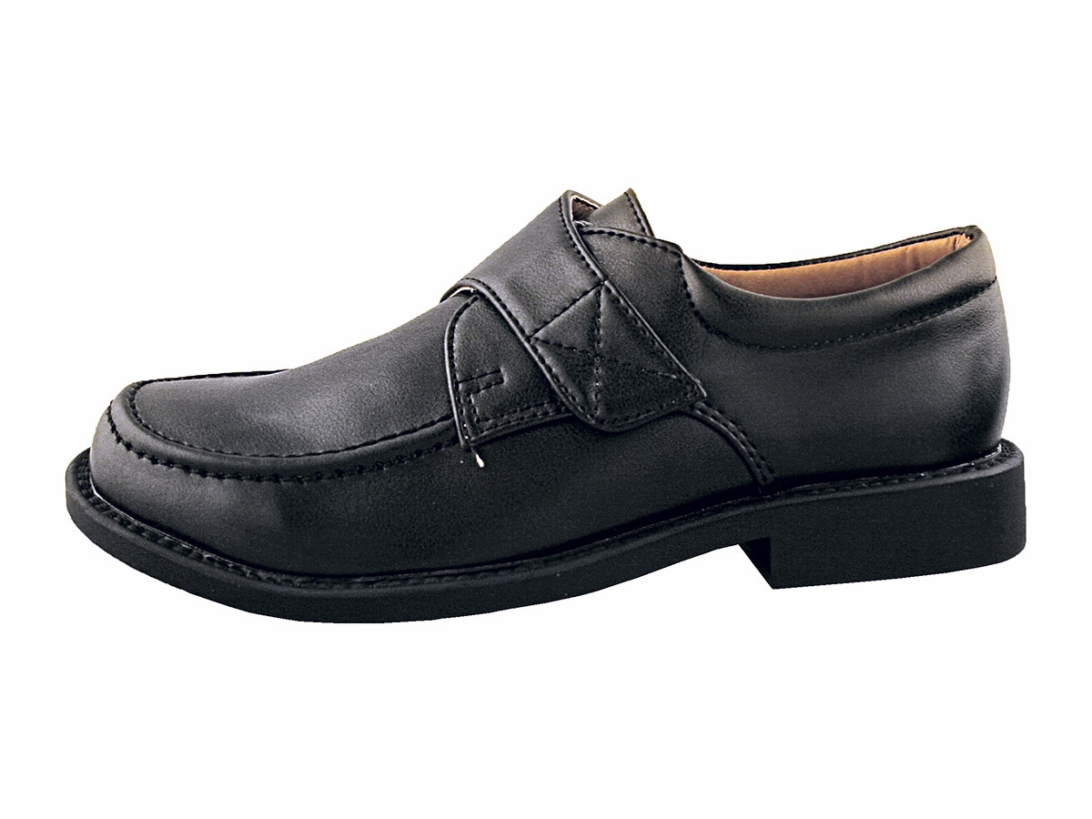 boys black dress shoes with velcro