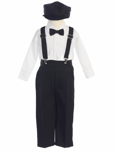 Boys' Black Longsleeve Suspender Pant Set w/ Hat