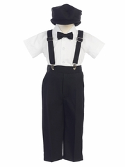 Boys' Black Shortsleeve Suspender Pant Set w/ Hat