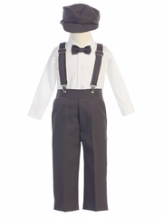 Boys' Charcoal Longsleeve Suspender Pant Set w/ Hat
