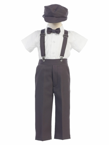 Boys' Charcoal Shortsleeve Suspender Pant Set w/ Hat
