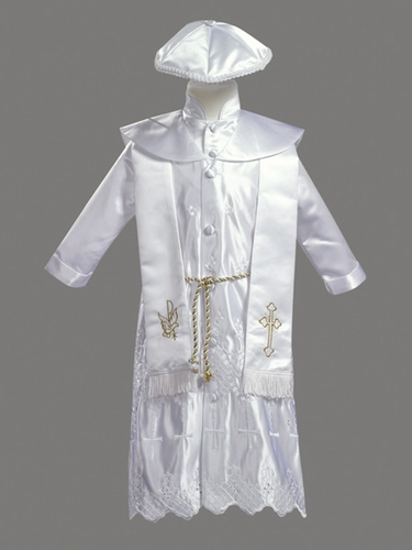 Boys Christening 4 Piece Gold Embroidered Satin Robe w/ Shawl