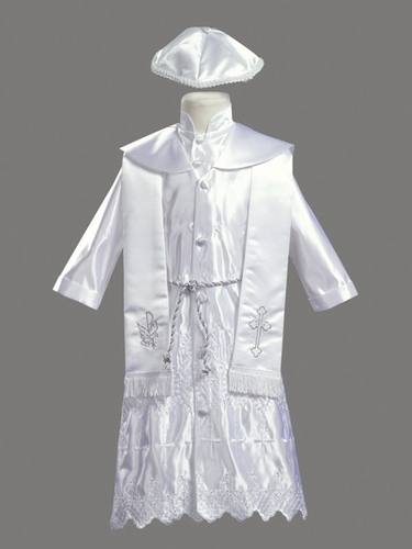 Boys Christening 4 Piece Silver Embroidered Satin Robe w/ Shawl