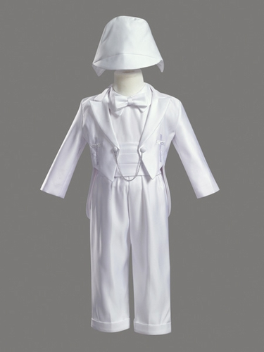 Boys Christening 5 Piece Satin Tuxedo with Embroidered Crosses