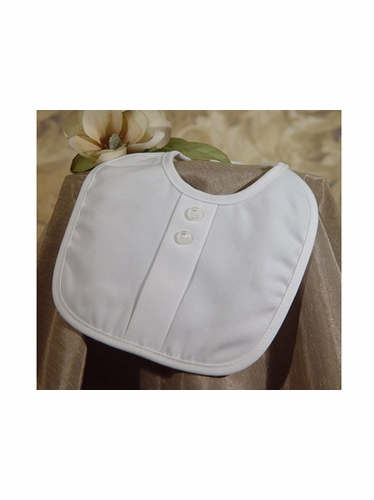 Boys Christening Bib w/ Pleat & Button Accent
