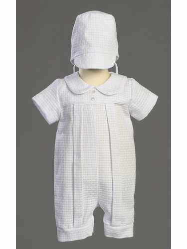 Boys Christening Cotton Basketweave Romper