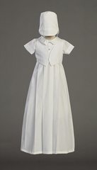Boys Christening Cotton Gown w/Embroidered Cotton Vest