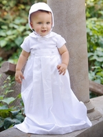 Boys Christening Cotton Weaved Romper w/ Detachable Gown