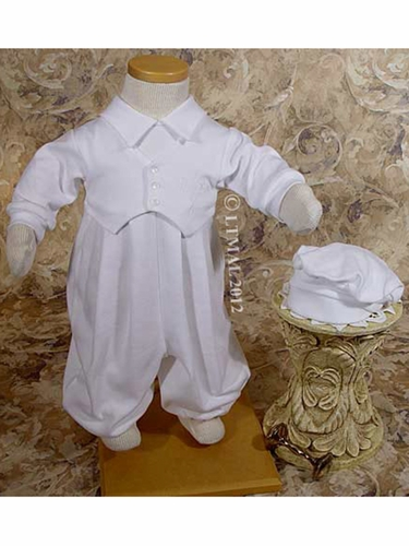 Boys Christening Coverall w/ Embroidered Cross