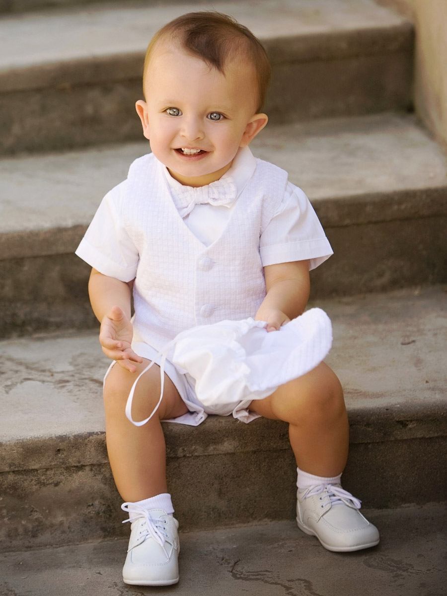 Boys Christening Outfit - Dot Embroidery Short Set For Baptism $ 24 99 Prime. 4 out of 5 stars Swea Pea & Lilli. Baby Boy White Poly Cotton Christening Baptism Romper Set with Vest and Hat $ 36 98 Prime. out of 5 stars Petit Ami. Pique Christening Longall with Hat. from $ 37