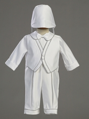Boys Christening Satin Romper w/Silver Trim