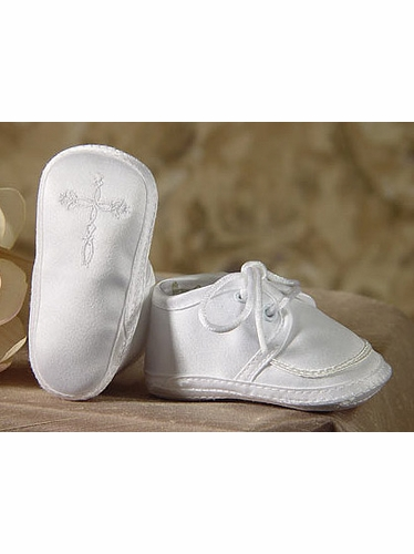 Boys Christening Satin Shoe w/ Celtic Cross