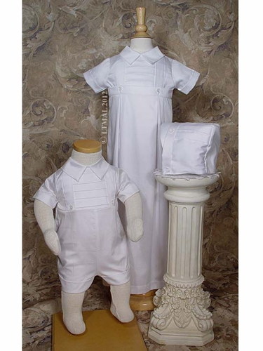 Boys Cotton Convertible Christening Set w/ Hat