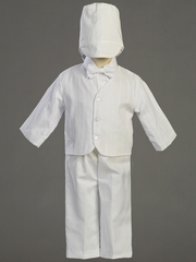 Boys Embroidered Cotton Christening Eton & Pants