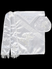 Boys Embroidered Dove Christening Blanket w/ Bib, Hanky, and Shawl