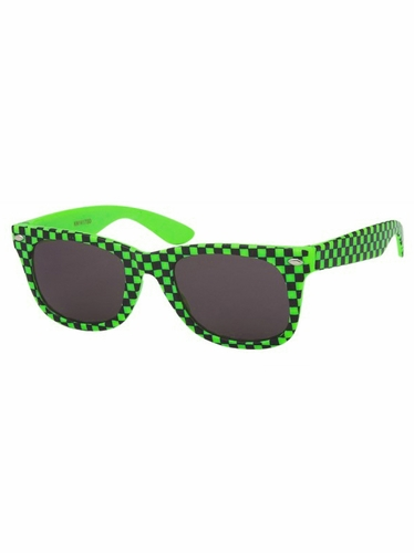 Boys Green Plastic Neon Checkered Temple Sunglasses