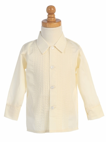 Boys Ivory Long Sleeve Tuxedo Shirt