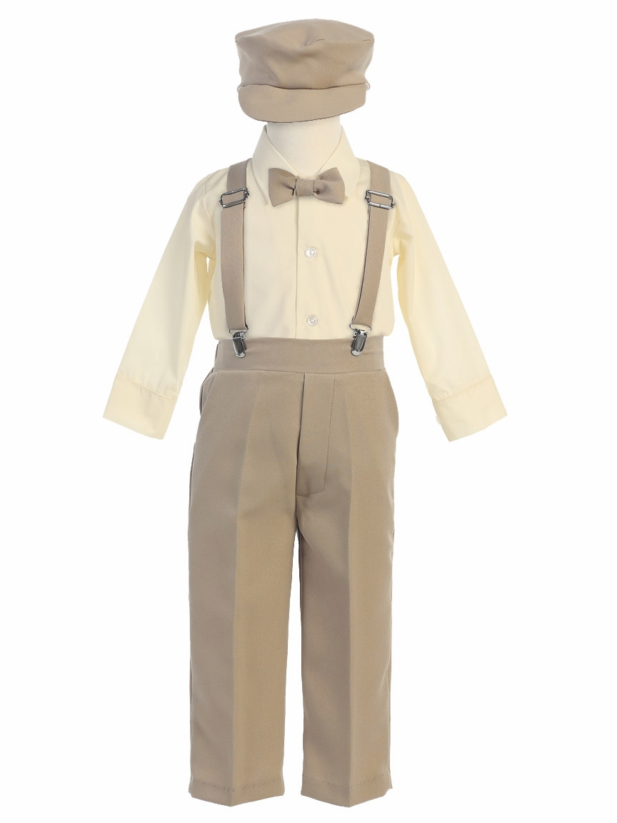 Give your little man a polished look in these OshKosh B'gosh pants and suspenders.